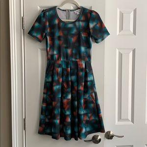 Lularoe Amelia Dress Size Small Zip Back Pockets